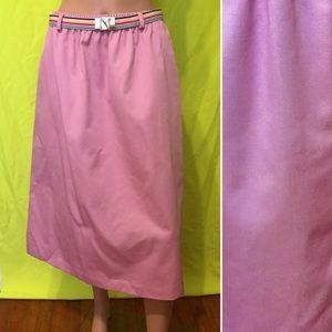 Vintage 1970s Belted A-Line Midi Skirt